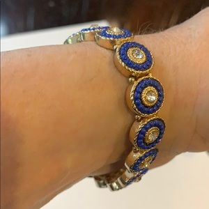 Blue and gold stretchy bracelet